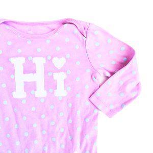Pink and Teal Polkadot 'Hi' Onesie